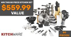 win a 80 piece kitchen set that includes a pan set, a steak knife set and a lot more 1 winner Minnesota State Fair, Steak Knife Set, Pan Set, Kitchen Sets, Spice Things Up, Win Prizes, Free Stuff, Giveaways, Bag
