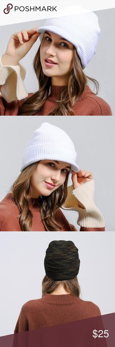 Rimmed Slouchy Beanie polyester blend super soft, super stretchy, incredibly cute and wearable with anything in your closet, available in green or white. Accessories Hats