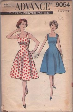 MOMSPatterns Vintage Sewing Patterns - Advance 9054 Vintage 50's Sewing Pattern INCREDIBLE Button Tab Trim Rockabilly Square Neck Full Flare...