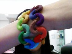 Rainbow Macaroni Bracelet:)) · How To Make A Beaded Bracelet · Beadwork, Dyeing, and Jewelry Making on Cut Out + Keep Macaroni Art, Bead Crafts, Arts And Crafts, Beaded Curtains, Gifts For Mom, Jewelry Making, Beaded Bracelets, Rainbow, Beads