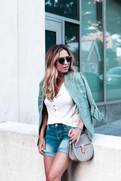 Union Bay tee, jacket and shorts, Dior sunglasses, Chloe Drew bag