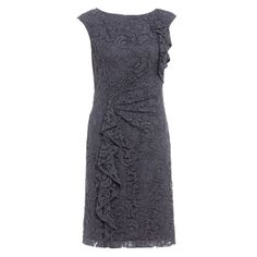 Buy Adrianna Papell Lace Ruffle Front Dress, Grey online at John Lewis