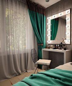 Дамский уголок - Architecture and Home Decor - Bedroom - Bathroom - Kitchen And Living Room Interior Design Decorating Ideas - Bedroom Green, Bedroom Colors, Home Bedroom, Bedroom Decor, Bedroom Small, Trendy Bedroom, Light Bedroom, Bedroom Modern, Bedroom Ideas