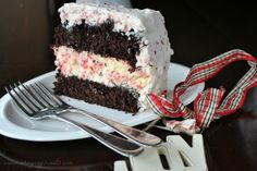 Chocolate Peppermint Cheesecake Cake- two layers of chocolate cake, a layer of topped with creamy peppermint frosting!