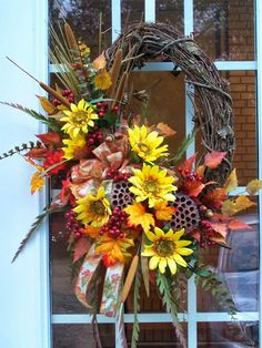 Wreaths and other hand crafted seasonal designs Thanksgiving Wreaths, Autumn Wreaths, Thanksgiving Decorations, Holiday Wreaths, Fall Decorations, Mesh Wreaths, Fall Lanterns, Sunflower Wreaths, Diy Wreath