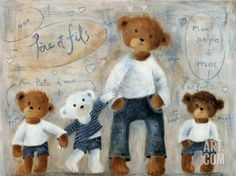 Posters, Art Prints, Framed Art, and Wall Art Collection Art D'ours, Father's Day Celebration, Decoupage, Art Carte, Joelle, Vintage Teddy Bears, Bear Art, Tole Painting, Illustrations