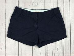 J. Crew womens 4 blue cotton chino broken-in khaki flat front casual shorts #JCrew #KhakiChino