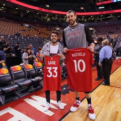 Image may contain: 3 people, people playing sports, basketball court and stadium Sports Jerseys, Sports Basketball, Basketball Court, Nba Wallpapers, Toronto Raptors, People People, Couples, Image, Instagram