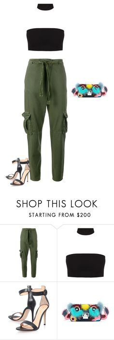 """""""Untitled #1869"""" by quaybrooks on Polyvore featuring Current/Elliott, Gianvito Rossi and Fendi"""