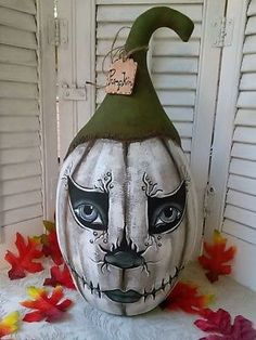 15 primitive country cloth cat kitty doll hand made folk art decoration Primitive FoLk ArT Cloth PuMpKiN Doll OOAK 15 Inches ~ Halloween Decoration~ Halloween Veranda, Halloween Gourds, Rustic Halloween, Halloween Doll, Halloween Painting, Halloween Crafts, Pumpkin Decorating Contest, Decorating Ideas, Craft Ideas
