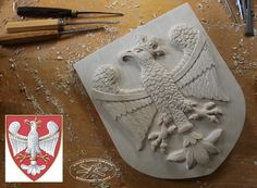Family crest - coat of arms carved in wood   Heraldic Woodcarving   Heraldic Woodcarver   Coat of arms Poland