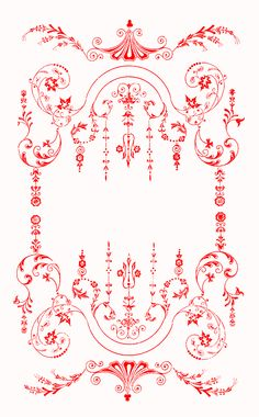This Victorian Floral Border is taken from the front cover. Gold border on a black background. Red border on a white background. Black border on a white background. Moody silver border on a black Images Vintage, Vintage Designs, Embroidery Transfers, Embroidery Patterns, Arabesque, Floral Frames, Vintage Borders, Vintage Embroidery, Embroidery Store