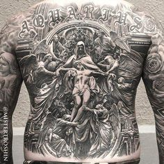 Beautiful back tattoo #Jesus #Angels artist: Mister Troshin