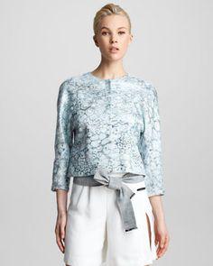 Giorgio Armani Floral Jacquard Swing Jacket - Bergdorf Goodman