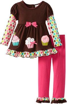 Amazon.com: Rare Editions Girls 2-6X Cupcake Applique Leg Set Toddler: Clothing