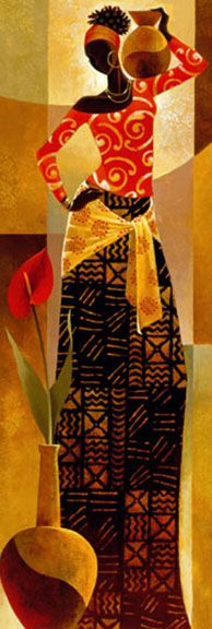 "Keith Mallett - Bahiya~ The word for beauty in Swahili is Bahiya. This elegant print measures 12""x36"", and is signed in pencil by the artist."