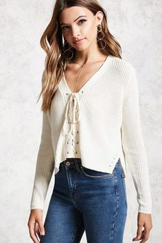 803f859c5b Product Name Lace-Up Ribbed Knit Sweater