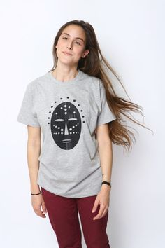 Need a mask?  Have fun,  be kind.    My MELANGE LIGHT GREY graphic tee is hand Printed in Tel Aviv on a 100% cotton unisex basic T-shirt.   ----