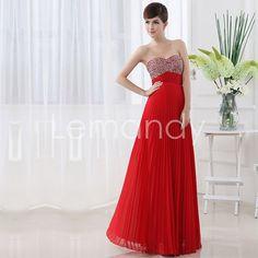formal strapless sweetheart beaded folds chiffon evening dress lace-up back. $155.00, via Etsy.