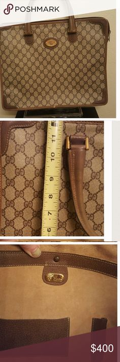 An Authentic Gucci bag This bag is good to keep documentation and it also is good for business meetings. Will hold some laptops. Vintage Gucci bag is in great shape Gucci Bags Laptop Bags