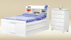 White Full Size Birch Wood Bookcase Headboard Captains Bed w/ Storage