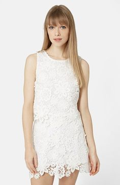 Topshop Crochet Lace Shell Top (Petite) available at #Nordstrom