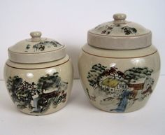 Lot of 2 Ginger Jars with Lids. Beautiful Japanese scene with Japanese writing. No markings on bottom. House, trees and water wheel.