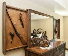 MH Custom Woodworks Inc - Furniture/Gun Concealment - Seligman, MO Hidden Gun Storage, Weapon Storage, Secret Storage, Hidden Gun Safe, Hidden Spaces, Hidden Rooms, Diy Storage Design, Storage Ideas, Craft Storage