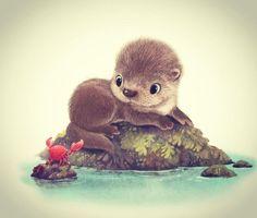 Baby otter with cancer Baby otter with cancer Cute Animal Illustration, Cute Animal Drawings, Illustration Sketches, Cute Drawings, Animal Illustrations, Cartoon Cartoon, Cartoon Drawings, Cute Kawaii Animals, Cute Baby Animals