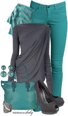 #Farbberatung #Stilberatung #Farbenreich mit www.farben-reich.com grey &:green combo outfits