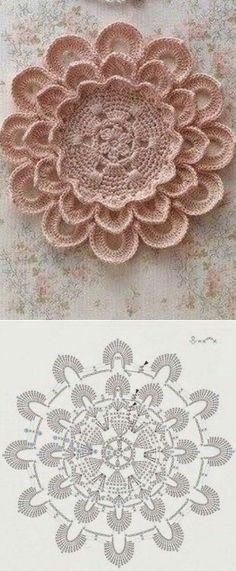 Watch The Video Splendid Crochet a Puff Flower Ideas. Wonderful Crochet a Puff Flower Ideas. Free Crochet Doily Patterns, Crochet Motifs, Freeform Crochet, Crochet Diagram, Crochet Squares, Thread Crochet, Crochet Designs, Crochet Crafts, Crochet Doilies