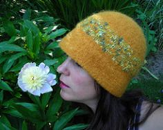 Handknit Felted Yellow Hat With Narrow Rolled Brim and Satin Novelty Yarn Band (creationsbycorina) Tags: wool hat yellow felted women knitting felting handknit accessories cloche noveltyyarn narrowrolledbrim