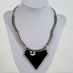 Fine Jakob BENGEL ART DECO CHROME Dark GREEN GALALITH NECKLACE 1930s MACHINE AGE #JakobBengel