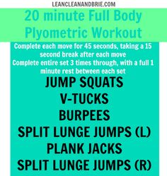 20 minute Full Body Plyometric Workout - Lean, Clean, and Brie Plyo Workouts, Plyometric Workout, Plyometrics, Fun Workouts, At Home Workouts, Body Workouts, Workout Routines, Workout Ideas, Total Body