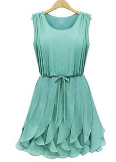 sea green pleated dress