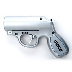 Mace Pepper Gun.  Need.  Do not mess with me!!  http://defendingwomen.blogspot.com/2014/01/what-is-best-self-defense-for-women.html