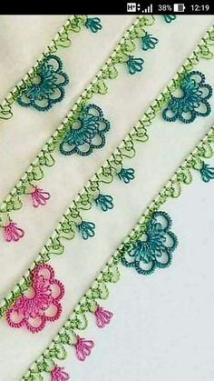 742 Likes, 4 Comments - İğne O Crochet Edging Patterns, Baby Knitting Patterns, Crochet Designs, Embroidery Patterns, Hand Embroidery, Needle Tatting, Tatting Lace, Needle Lace, Filet Crochet