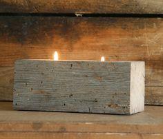 Barn Beam Candle Holder - Mega think longer simpler more rustic with tea lights