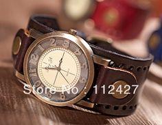 baf2dd49763 Envío gratis 2013 nuevo reloj de cuero vintage botón ver a las mujeres los  hombres damas
