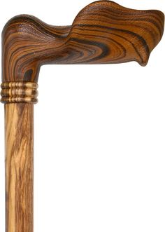 Palm Grip Walking Cane With Zebrano Wood Shaft and Wooden Collar