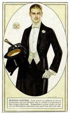 Vintage gentleman - J C Leyendecker Vintage Gentleman, Vintage Men, Belle Epoque, Style Vintage Hommes, Mens Evening Wear, Jc Leyendecker, Looks Dark, Vintage Outfits, Vintage Fashion
