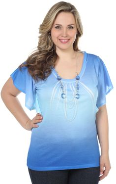 plus size ombre top with necklace $24.50