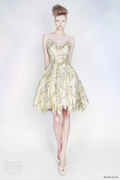 rami kadi spring 2013 silk tulle lurex blend puff dress gold