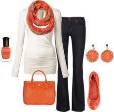 A cute winter outfit, even though I'm not big on orange. I'm very pale, so I'd replace it with a cooler color.