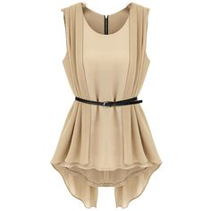 Aokin Women's Chiffon Slim Sleeveless Shirt Tops Blouse Belt Included ($13) ❤ liked on Polyvore featuring tops, blouses, shirts, blusas, dresses, sleeveless chiffon blouse, slim shirt, slim fit shirt, no sleeve shirts and beige chiffon blouse