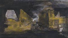 Devastation: An East End Street Graham Sutherland, 1941 Watercolour and coloured chalks over pencil Graham, Tate Britain, English Artists, Battle Of Britain, London Art, Gouache, Drawings, Burnt Paper, Landscape Art