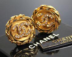 Vintage 1980s CHANEL Gold Rhinestone Earrings by fashionsquid