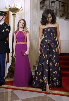 Michelle Obama and Sophie Gregoire Trudeau at the Canada State Dinner March 2016