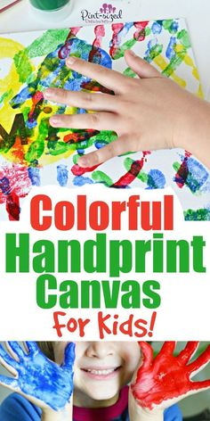 Colorful handprint canvases are the perfect way to connect your preschooler with crafts at Pint-sized Treasures, as well as display their handprints! Your kids will have so much fun with this handprint craft, and you get a keepsake out of it! Try this easy handprint craft today! This is a sponsored post. Crafts For Teens To Make, Projects For Kids, Crafts To Sell, Diy For Kids, Easy Crafts, Diy And Crafts, Kid Crafts, Diy Projects, Painting Activities
