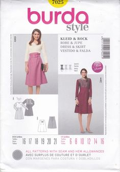 Sewing Pattern Burda Style 7025 Miss Size 6 8 10 12 14 16   High Waist Contrast Dress Skirt Women's Sewing Pattern 6/16 FF UNCUT by LanetzLiving on Etsy Burda Sewing Patterns, Rock, Dress Skirt, Easy, High Waist, Contrast, Summer Dresses, Skirts, Style